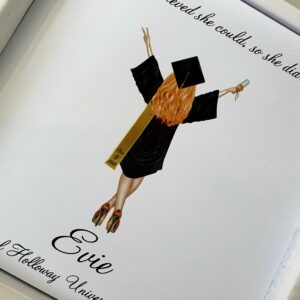 Personalised Graduation Card  Any Skin Tone  Any Colour Cap & Gown  Any Hair Style Or Colour Sash – Male Or Female (SKU575)