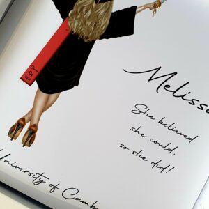 Personalised Graduation Card  Any Skin Tone  Any Colour Cap & Gown  Any Hair Style Or Colour Sash – Male Or Female (SKU574)