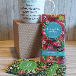 Mum Mug & Chocolate Gift Set Mumster Mug Or Mumbie Mug Organic Chocolate With Vegan Options (SKU568)