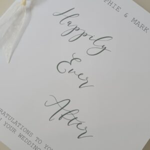 Personalised Contemporary Wedding Day Card Happily Ever After  Any Couple / Ribbon Colour (SKU569)