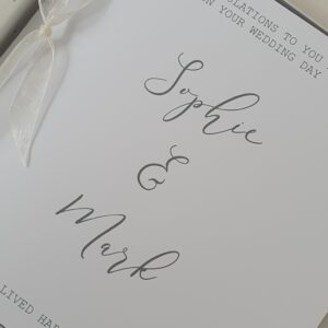 Personalised Contemporary Wedding Day Card Happily Ever After  Any Couple / Ribbon Colour (SKU570)