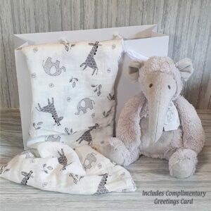 Anteater Alan Soft Toy & Swaddle Baby Gift / Children's Gift Set & Complimentary Greeting Card (SKU602)