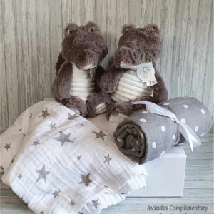 Croco Collin Twins Soft Toy & Swaddle Baby Gift / Children's Gift Set & Complimentary Greeting Card (SKU597)