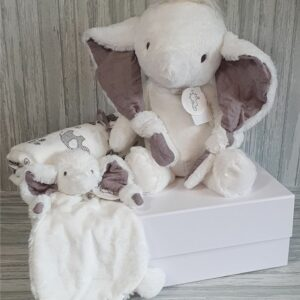 Elephant Elba Plush Toy, Tuttle & Swaddle Baby Gift / Sibling Gift Set & Complimentary Greeting Card (SKU606)