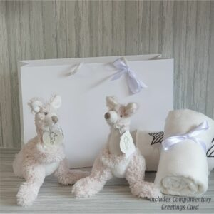Kangaroo Kayo & Swaddle Twins Baby Gift / Sibling Gift Set & Complimentary Greeting Card (SKU594)