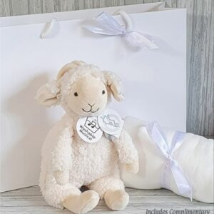 Lamb Leo Musical Soft Toy & Swaddle Baby Gift Set & Complimentary Greeting Card (SKU604)