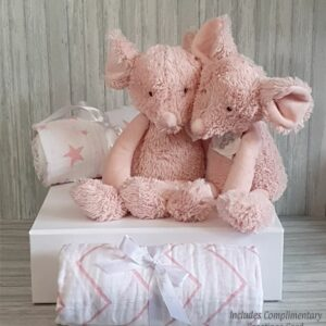 Mouse Marin Twins Soft Toy & Swaddle Baby Gift / Children's Gift Set & Complimentary Greeting Card (SKU596)