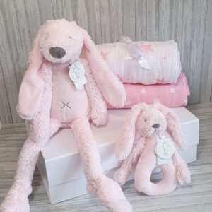 Rabbit Richie Pink Soft Toy, Rattle & Swaddle Baby & Sibling Gift Set & Complimentary Greeting Card (SKU592)