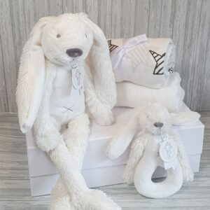 Rabbit Richie Grey Soft Toy, Rattle & Swaddle Baby & Sibling Gift Set & Complimentary Greeting Card (SKU614)