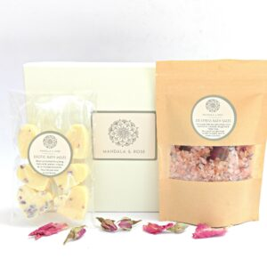 Relaxing Luxury Pamper Bath Gift Box  Bath Melts, Bath Salts  Thank You Gift, Bridesmaid Gift 100% Natural  Handmade   Cruelty Free   Vegan Friendly (SKU576)