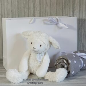 Sheep Skyler Soft Toy & Swaddle Baby Gift / Children's Gift Set & Complimentary Greeting Card (SKU603)