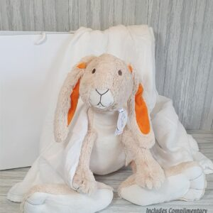 Rabbit Twine Large Soft Toy & Swaddle Baby Gift / Children's Gift Set & Complimentary Greeting Card (SKU600)