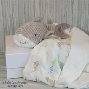 Waylon Whale Plush Soft Toy & Swaddle Muslin Blankets & Complimentary Greeting Card (SKU601)