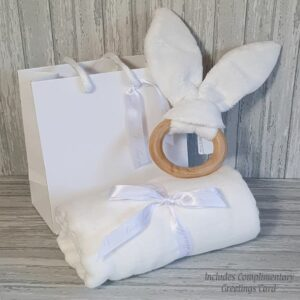 Traditional Wooden Bunny Teether Ring & Swaddle Baby Gift & Complimentary Greeting Card (SKU613)