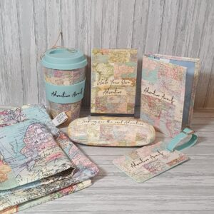 Ultimate Perfect Gift For Him Birthday, Fathers Day Or Christmas – Vintage Map Travel Set With Bamboo Coffee Cup Vegan Friendly (SKU564)