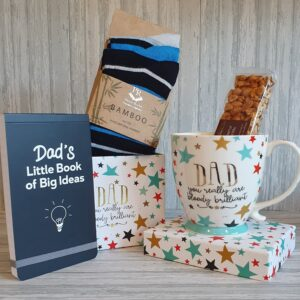 Perfect Present For Dad, Mug, Notebook, Bamboo Socks and Sweet Treat With Gift Bag & Card (SKU567)