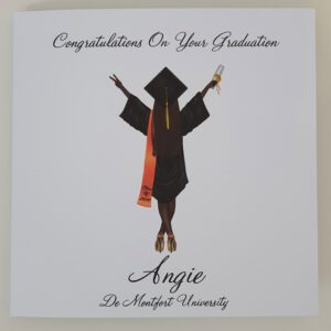 Personalised Graduation Card Any Skin Tone  Any Colour Cap & Gown  Any Hair Style Or Colour Sash – Male Or Female (SKU561)