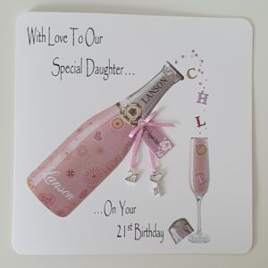 Personalised 21st Champagne Birthday Card Daughter Any Relation Or Age (SKU432)