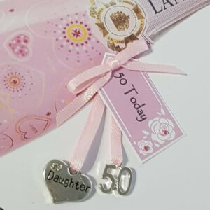 Personalised 50th Birthday Card Pink Champagne Daughter Any Relation Or Age (SKU422)