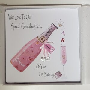 Personalised 21st Birthday Card Granddaughter Pink Champagne Any Relation, Age Or Tipple (SKU421)