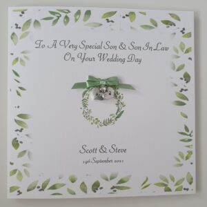 Personalised Wedding Day Card Male Same Sex Couple Son & Son In Law Any Relation, Occasion Or Colour (SKU443)