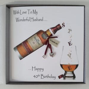 Personalised 40th Birthday Card Husband Whisky Any Relation, Age Or Tipple (SKU448)