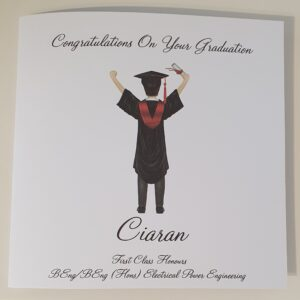 Personalised Graduation Card  Any Skin Tone  Any Colour Cap & Gown  Any Hair Style Or Colour Sash – Male Or Female (SKU484)