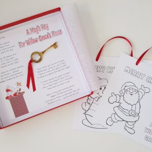 Personalised Children's Activity Christmas Card With Magic Santa Key Christmas Eve Box (SKU559)
