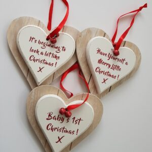 Wooden Heart Keepsake – Have Yourself A Merry Little Christmas – Baby's 1st Christmas – It's beginning To Look A Lot Like Christmas (SKU505)