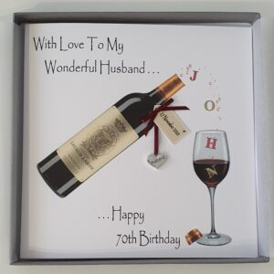 Personalised 70th Birthday Card Husband Red Wine Any Relation, Occasion Or Colour (SKU1018)