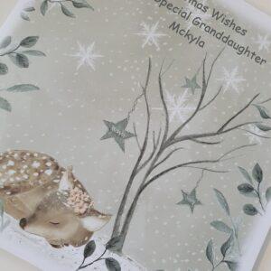 Personalised Christmas Card Watercolour Deer Design Special Granddaughter Any Relation (SKU1104)