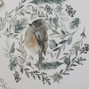Personalised Winter Frost Contemporary Christmas Card Watercolour Bird Design Mum & Dad, Grandparents, Special Friends (SKU1103)