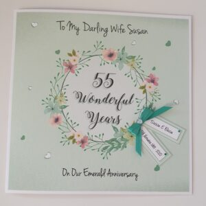 Personalised 55th Emerald Anniversary Card Husband Wife Mum Dad Grandparents Any Year Or Colour (SKU1102)