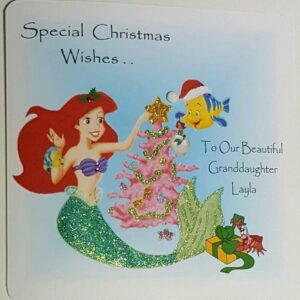 Personalised Ariel Christmas Card Granddaughter Any Relation (SKU1019)