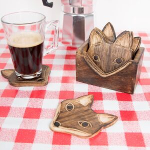 Quirky Fox Coasters – Wooden Coasters Hand Carved Wood- Set Of 6 – House Warming Gift (SKU1159)