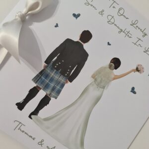 Totally Customisable Scottish Wedding Day Card Son Daughter In Law, Any Relation LGBT Other Tartans, Dresses, Skin Tone Available (SKU1143)