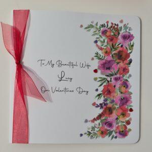 Personalised Valentines Card Pretty Pink & Red Rose Design Wife Lover Girlfriend Fiancée Partner (SKU1147)