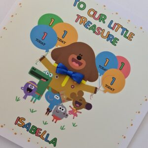 Personalised Hey Duggee & Squirrels 1st Birthday Card Granddaughter Daughter Grandson Nephew Any Relation Or Age (SKU1148)