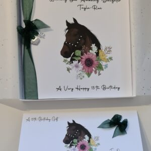 Personalised 13th Birthday Card Granddaughter Dark Bay Horse Themed, Daughter Niece, Any Person Age Horse Colour 10th 16th 30th (SKU1165)