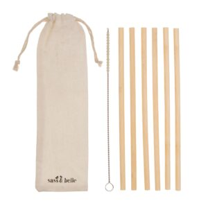 Planet Friendly Reusable Bamboo Straws With Storage Pouch And Cleaning Tool – SET OF 6 (SKU1160)
