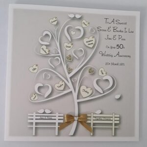 Personalised Family Tree 50th Golden Anniversary Card Sister & Brother In Law Any Couple, Any Year Or Colour (SKU1151)