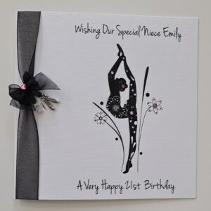 Personalised 21st Birthday Card Dance Ballet Modern Contemporary Niece Daughter Granddaughter Any Person Age Colour 13th 16th 18th (SKU1188)