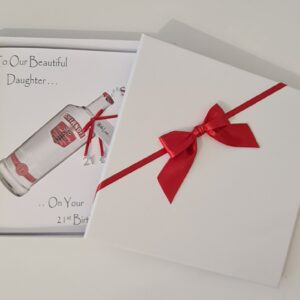 Personalised 21st Vodka Birthday Card Daughter Granddaughter Son Grandson Niece Sister Brother Any Relation, Age Or Tipple (SKU1192)