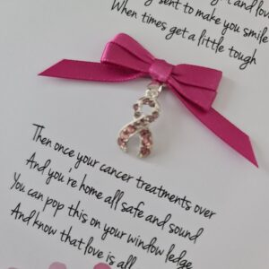 Personalised Get Well Cancer Card Pink Crystal Ribbon Auntie Friend Sister Mum Brother Sister Uncle Dad Any Person Or Colour (SKU1197)