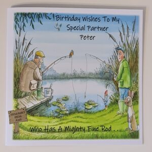 Personalised Fishing Theme Birthday Card Partner Boyfriend Husband Brother Mate Friend Any Relation Or Age (SKU1231)