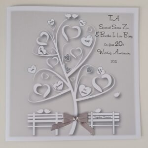 Personalised Silver 20th Tin Wedding Anniversary Card Family Tree Sister And Brother In Law Any Year, Colour Or Couple (SKU1223)
