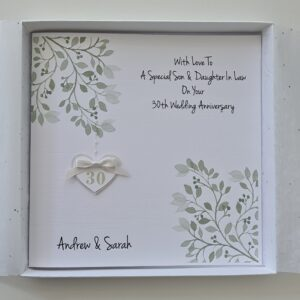 Personalised Pearl 30th Anniversary Card Son Daughter In law Sister Brother In law Special Couple, 1st 20th 40th 25th Any Colour (SKU1227)