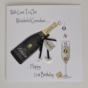 Personalised 21st Birthday Card Grandson Son Husband Dad Brother In law Champagne Any Person Age Tipple 18th 25th 30TH 40TH (SKU1230)