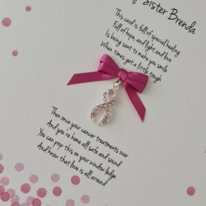 Personalised Get Well Cancer Card Pink Crystal Ribbon Sister Auntie Friend Mum Brother Sister Uncle Dad Any Person Or Colour (SKU1243)