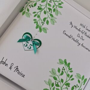 Personalised Emerald 55th Anniversary Card Husband Wife It Can Be Made For Any Couple Daughter Son Sister Brother Any Year Colour (SKU1242)